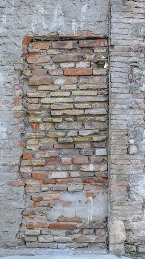 Architecture Built Structure Wall - Building Feature Wall Old Weathered Brick Wall No People Brick Wood - Material Pattern Full Frame Day Textured  Backgrounds Building Exterior Decline Outdoors Deterioration Damaged