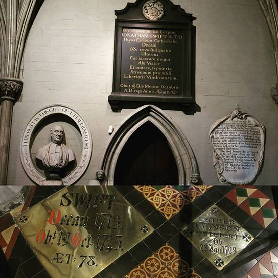 "VOYAGE EN IRLANDE - 5 septembre - Les épitaphes et les tombeaux de Jonathan Swift et de son amie (ou petite amie?) Stella, dans la Cathédrale de Saint Patrick à Dublin. En plus d'avoir été l'auteur des célèbres ""Voyages de Gulliver"", Swift fut clerc et Doyen de cette même cathédrale. IRISH TRIP - September 5 - Jonathan Swift's and his (girl?)friend Stella's epitaphs and tombs at Saint Patrick's Cathedral in Dublin. Beside being the author of the famous ""Gulliver's Travels"", Swift was a cleric and became the Dean of this cathedral. Ireland Ireland_gram Visitireland Irelandinspires Dublin Loves__europe Loves_ireland Loveireland Loves_dublin Discoverdublin Igersdublin Igersireland Igireland Wanderireland Irelanddaily Fiftyshades_of_history Church_masters Tv_churchandgraves Churchandgraves Loves_monuments SaintPatrick Cathedral Church Swift Literature love girlfriend instalove friends lovers"