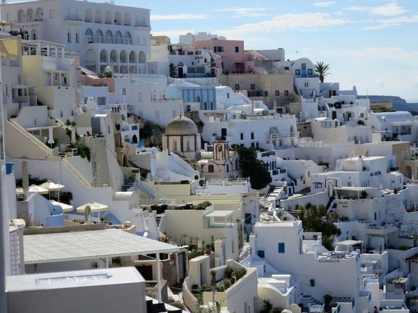 Santorini Aegean Sea Architecture Blue Building Building Exterior Cityscape Day Elevated View Greece Greek Islands No People Residential Building Residential District Residential Structure Roof Santorini Scenery Sky Town TOWNSCAPE White And Blue The Architect - 2016 EyeEm Awards