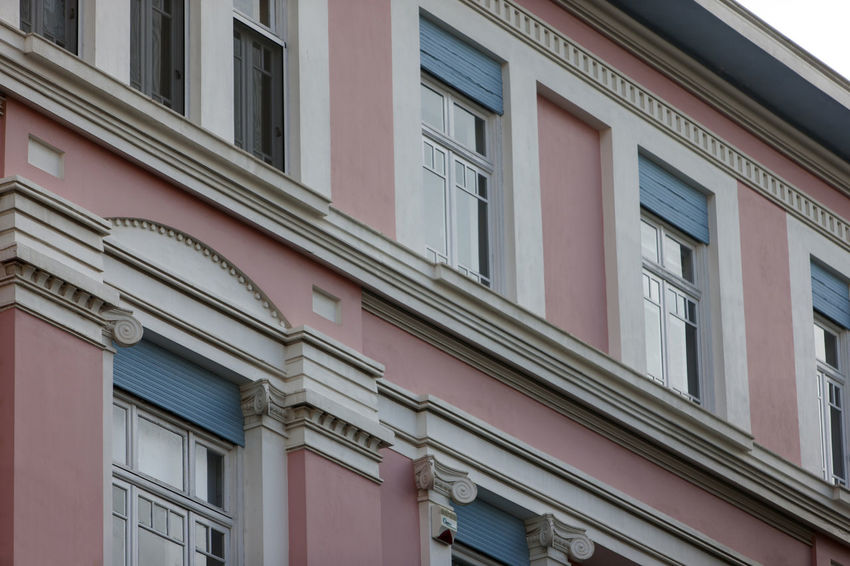 Architecture Athens Building Building Exterior Built Structure City Day Full Frame House In A Row Low Angle View No People Outdoors Pattern Pink Color Residential District Window