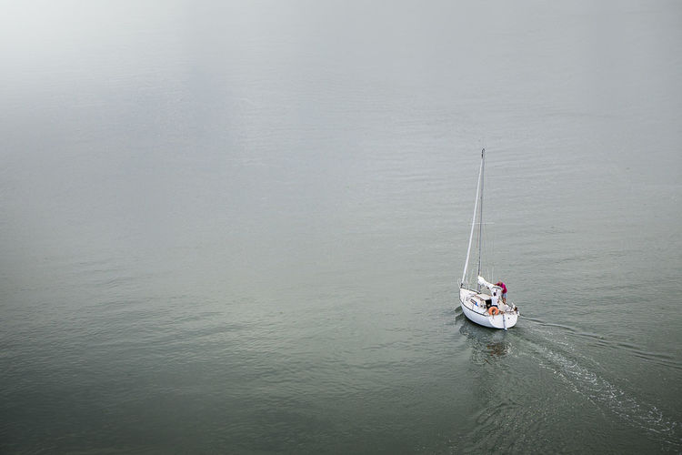 High angle view of ship in water