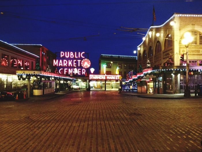 Seattle, Washington Night Illuminated City Travel Destinations Pike Place Market Farmer's Market No People Deserted Places Deserted Streets Quiet Moments Building Exterior Architecture Store Built Structure Outdoors Neon Business Finance And Industry