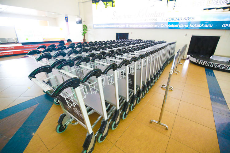 Trolley Indoors  Technology Absence Seat No People Order In A Row Empty Healthcare And Medicine Flooring Education Repetition Side By Side Arrangement Furniture Communication Sport Tile Hospital Large Group Of Objects Tiled Floor Trolley