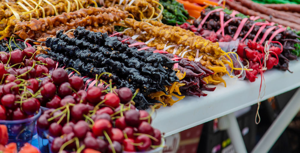 Close-up of multi colored vegetables for sale in market
