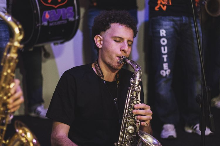 The Portraitist - 2017 EyeEm Awards Daily streetband's musician Music Sax Saxophone Streetphotography Musical Instrument Music Musician Arts Culture And Entertainment Real People Playing Event Performance Route99style Route99