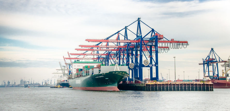 Architecture Built Structure Cargo Container Cloud - Sky Commercial Dock Container Hafen Hamburg Container Ship Container Terminal Crane - Construction Machinery Day Freight Transportation Harbor Industry Mode Of Transport Nature Nautical Vessel No People Outdoors Sea Shipping  Shipyard Sky Transportation Water Waterfront