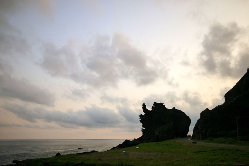 Drangon Rock! Sea Scenics Sky Nature Beauty In Nature Tranquility Horizon Over Water Tranquil Scene Rock - Object Cloud - Sky No People Outdoors Beach Water Landscape Cliff Day Orchidisland Lanyuisland Lanyü, Taiwan