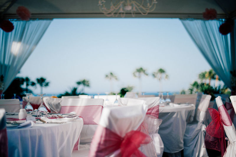 Decorated tables at wedding ceremony