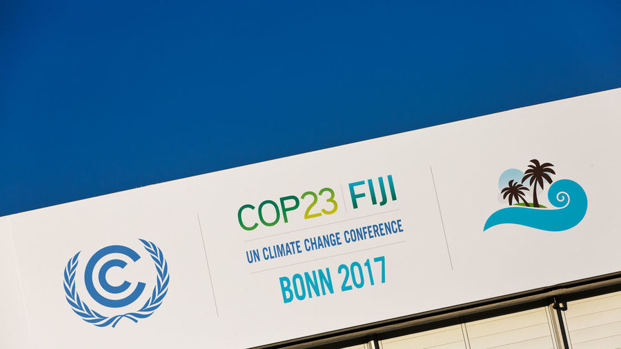 Bonn Bonn 2017 COP23 Event Global Warming International Sign Venue Blue Clear Sky Climate Climate Change Climate Change Conference Climate Protection Communication Conference Day Display Low Angle View No People Original Outdoors Symbol Text