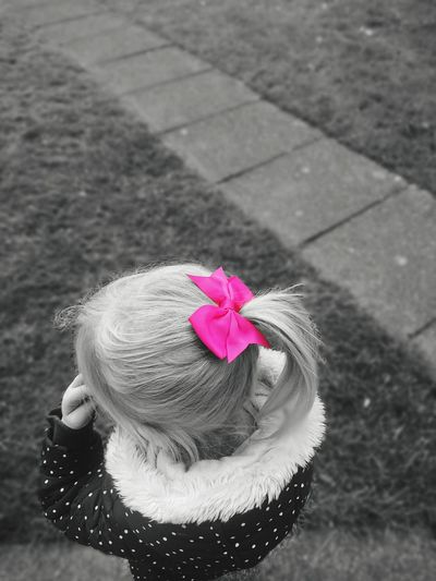 School Time  Pink Pinkbow Daughter PrettyInPink Black And White Focus Splashofcolor Outdoors Black And White Friday