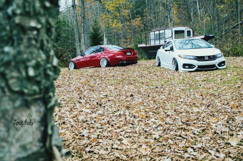 | Zeside Media • All rights reserved | BMW M3 Civic Bagged Baggedsociety Fall Colors Fall Leafs Creative Stance Airsuspension Setlife Campagne Vipmodular