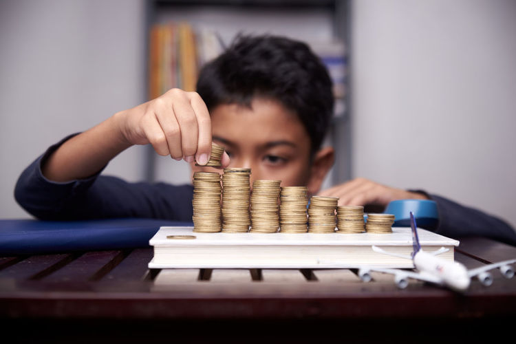 Portrait of a boy with stack