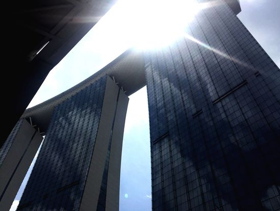 Low Angle View Architecture Building Exterior Sunlight Day No People Outdoors Built Structure Modern Sky City EyEmNewHere Marina Bay Sands Singapore View Singapore
