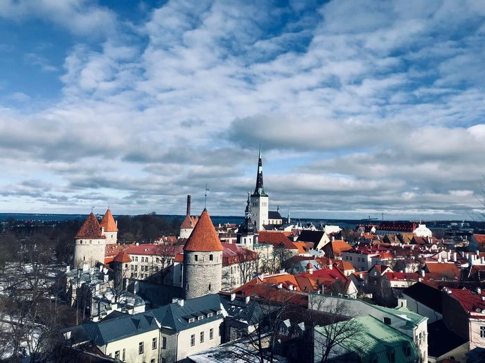 Panoramic Landscape Panorama Architecture Estonia Tallinn Tallinn Old Town Tallinn Estonia Baltic Countries Architecture Built Structure Cloud - Sky Sky Building Exterior Building Nature Cityscape High Angle View Travel Destinations Residential District Religion House Outdoors City Roof No People TOWNSCAPE Day Spire
