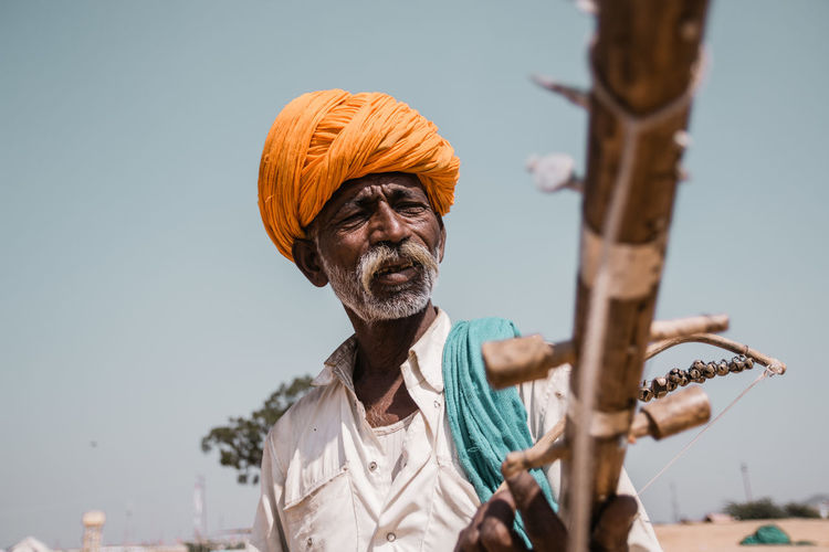Man holding a musical instrument