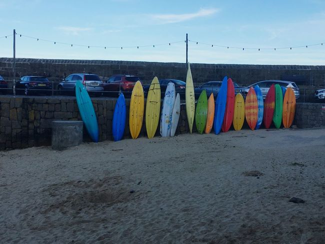 Surfing Surf Surfboard Colourful Sky Harbour Cornwall Penzance  Beach Sand Wall Rockwall