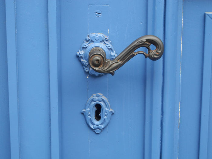 City Doors Suhl Blue Brown Closed Door Color Come In Doorhandle Germany Handle Lost Places Metal Old Door Welcome Wooden Texture