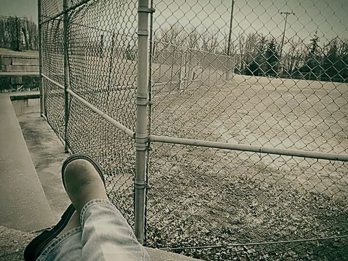 Chilling Outside Countrylife Peaceful Moments Chainlink Fence One Person Day