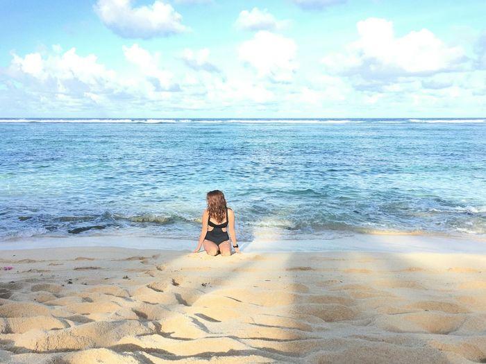 Philippines Travel Destinations Tropics Tropical Paradise EyeEmNewHere EyeEm Nature Lover Beach Life Islandlife Water Young Women Sea Beach Women Sand Summer Full Length Relaxation Rear View Seascape Coast Ocean Calm Sandy Beach Shore