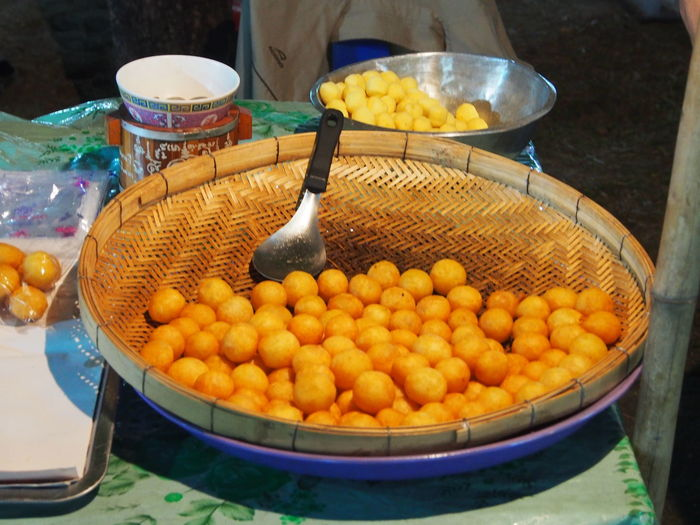 "called "" Khanom kai nok krata"" in Thai Deep Fried Sweet Potato Balls Food Fried Market Market Stall Snack Street Food Sweet Potatoes Thai Food Thai Street Food"