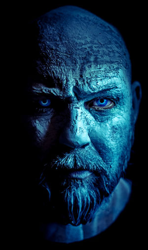 Black Background Close-up Face Paint Games Of Throne Halloween Headshot Human Face Indoors  Looking At Camera Mature Men Men Night One Man Only One Person Portrait Real People Serious Studio Shot