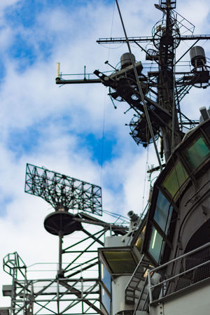 USS Intrepid Low Angle View Antenna - Aerial Cable Outdoors Connection Technology Day No People Built Structure Metal Cloud - Sky Sky Architecture USS Intrepid Museum Ship Navy Radar Communication Nautical Vessel Military