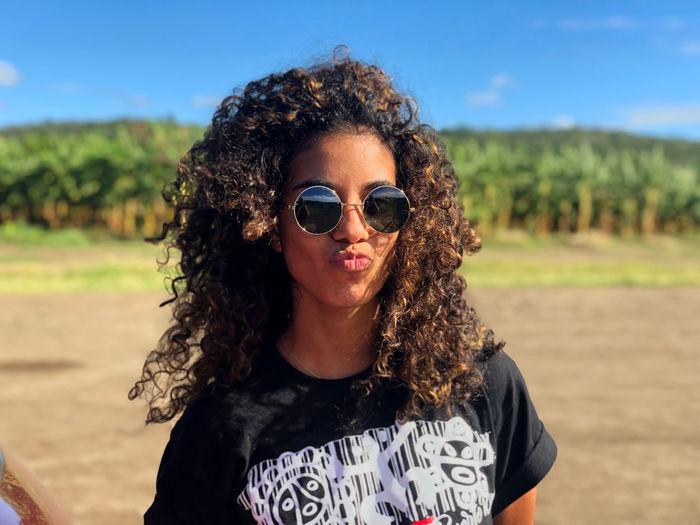Portrait of teenage girl wearing sunglasses