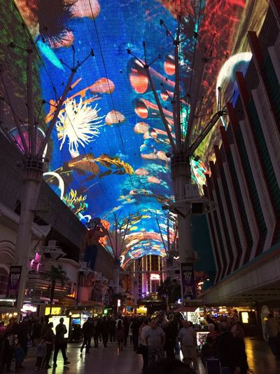 Fremont Street Experience in Las Vegas, NV. Four blocks of overhead LED light show, zip lines and fun. Art Artistic Arts Culture And Entertainment City City Life Color Colors Colorsplash Culture Experience Freemont Street Fun Having Fun Las Vegas LED Light Show Night Night Lights Nightlife Recreational Pursuit Street Art Vacation Zipline Enjoying Life This Week On Eyeem