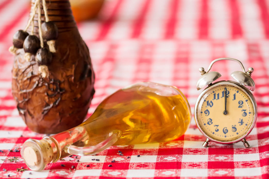Antique Hour Retro Alarm Clock Analog Arrangement Backgrounds Checked Pattern Clock Clock Face Close-up Concept Indoors  Minute Oil Bottle Old Pattern Red Still Life Table Tablecloth Textile Time Vintage Wooden