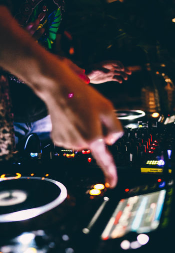 Techno Arts Culture And Entertainment Audio Equipment Club Dj Clubbing Dj Finger Hand Human Body Part Human Hand Mixing Music Night Nightclub Nightlife Occupation People Real People Record Selective Focus Sound Mixer Sound Recording Equipment Technology Turntable