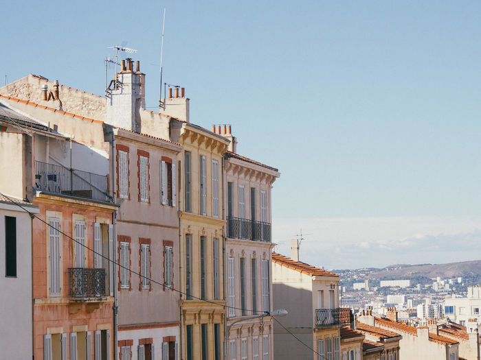 Architecture Building Exterior Built Structure City Clear Sky Day Marseille No People Outdoors Pastel Sky