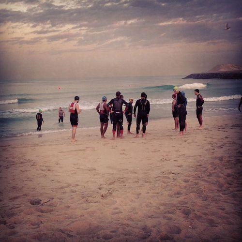Triathletes about to take the plunge TRIATHLON Triathlete Swimming Sea Swim Dubai Um Sequim UAE