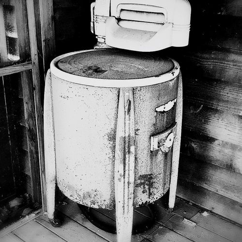 Vintage Washing Machine No People Day Close-up Black And White Wash Tub