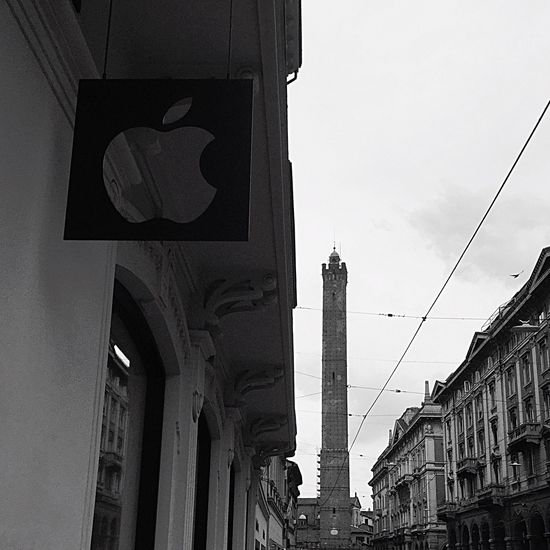 Architecture Built Structure Building Exterior Low Angle View Symbol Day Outdoors Sky No People Road Sign City Apple Store Bologna, Italy