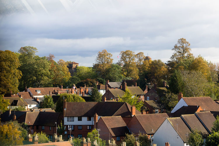Autumn view of colchester castle behind dutch quarter rooftops