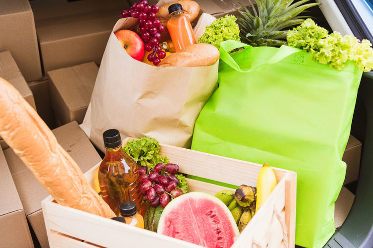High angle view of fruits in box
