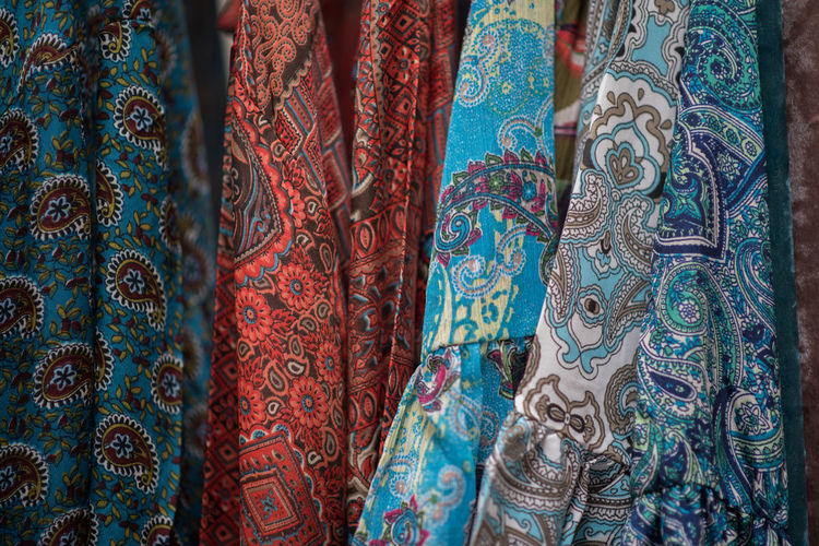 Full frame shot of colorful fabrics for sale at market