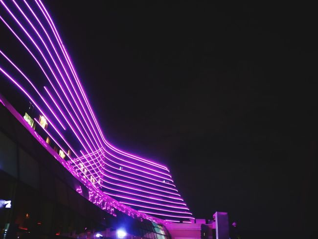 Night Illuminated City Neon Nightlife Low Angle View Architecture No People Outdoors Asuszenfone3 Okada Architecture Filtered Image