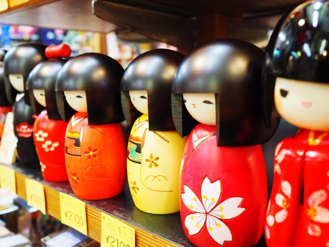 Japanese dolls EyeEmNewHere M. Zuiko 17mm F1.8 Lens Doll In A Row Variation Indoors  For Sale No People Retail  Multi Colored Close-up EyeEmNewHere