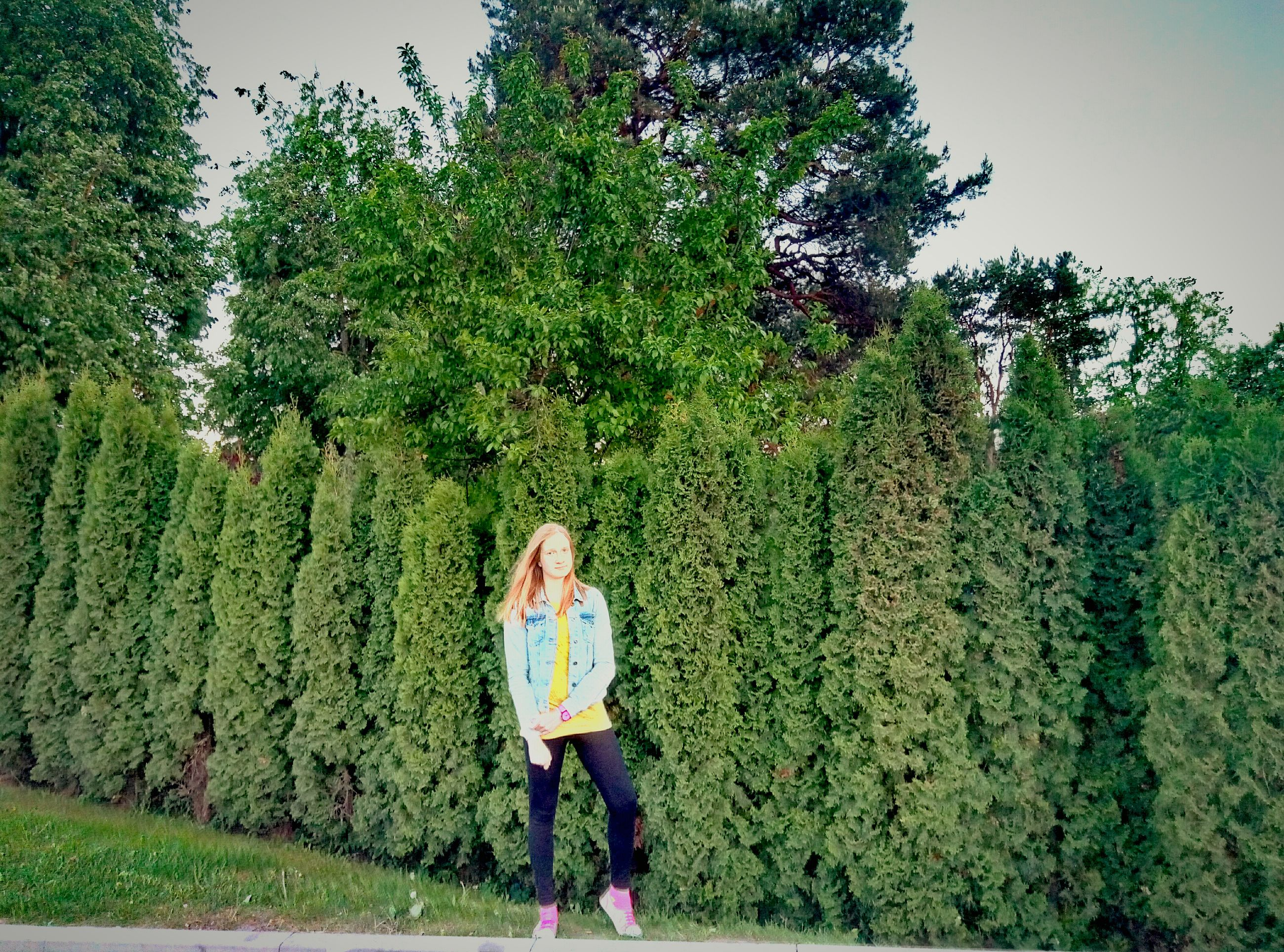 growth, tree, green color, one person, casual clothing, standing, day, real people, nature, blond hair, plant, full length, outdoors, lifestyles, young women, women, young adult, environmentalist, grass, adult, adults only, people