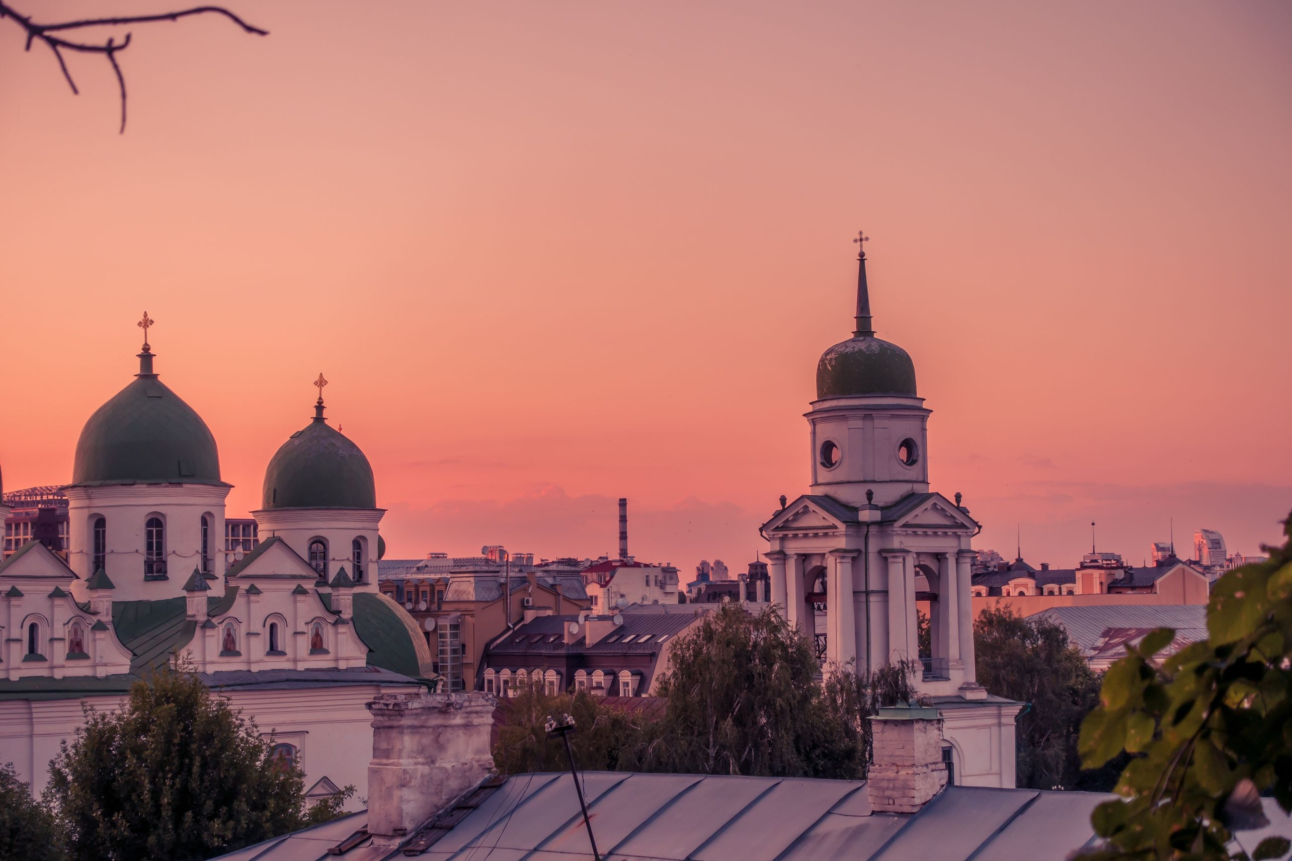 religion, place of worship, spirituality, dome, architecture, sunset, building exterior, built structure, sky, no people, outdoors, tree, nature, travel destinations, city, day