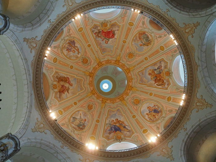 Architectural Design Architectural Feature Architecture Built Structure Ceiling Christmastime Cupola Day Directly Below Dome Dresden Frauenkirche Dresden Illuminated Indoors  Low Angle View No People Ornate Pattern Place Of Worship Religion Travel Destinations