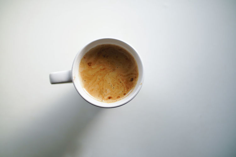 High angle view of coffee cup against white background