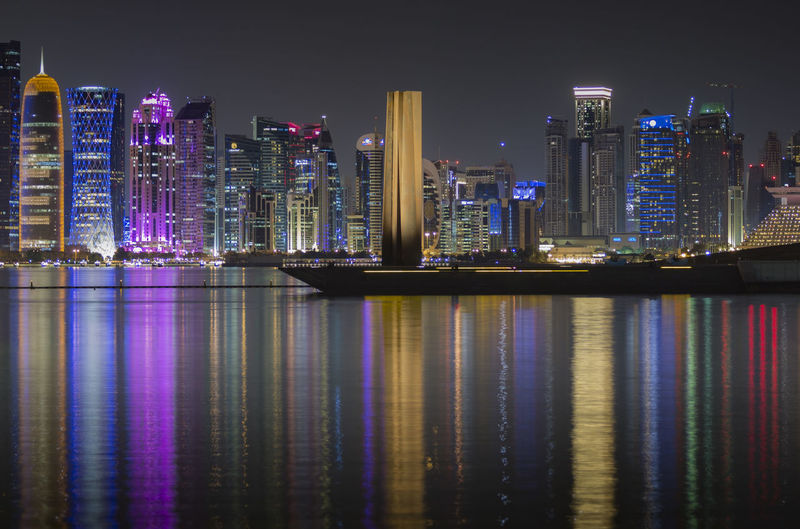 Downtown cityscape at night.  illuminated buildings against sky at night. doha