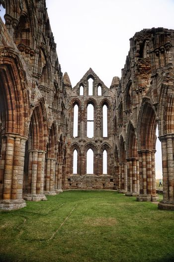 Whitby Whitby Whitby Abbey Architecture Built Structure History The Past Arch Sky Grass Clear Sky Travel Destinations Old Travel Building Exterior Nature Tourism Day No People Ancient Old Ruin Abbey Outdoors Architectural Column Ancient Civilization Ruined