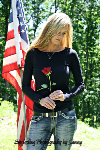 Remembering the Fallen Posing Blonde Girl Nature American Flag Cemetery Model