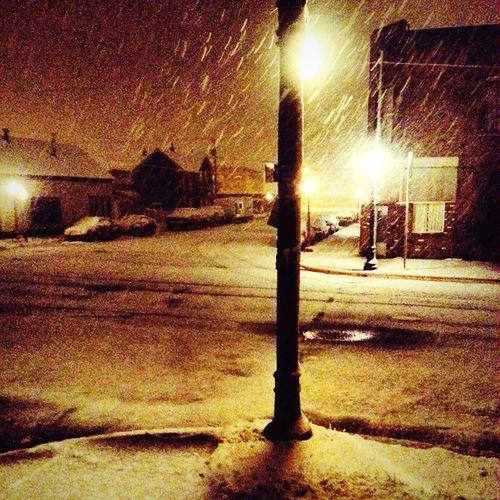 Street Lights Snow ❄ Snow Day Montanasnowday Nightphotography Nightlights Winterdaze Color Palette Outdoors