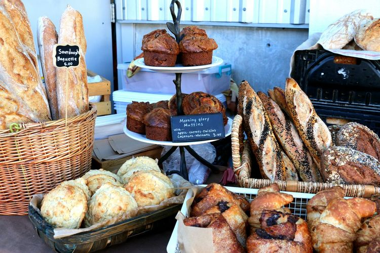 Baked goods for sale at market stall