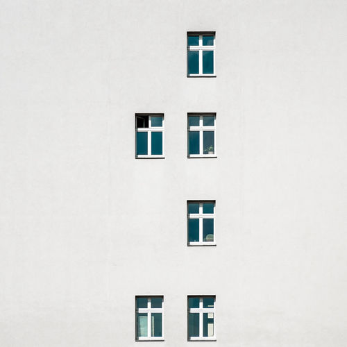 Facade Architecture Built Structure Window Building Exterior Building No People Day Outdoors Fujix_berlin Ralfpollack_fotografie Copy Space White Color Full Frame Wall - Building Feature Shape Geometric Shape Backgrounds Design Side By Side Wall Minimalism Minimalist Photography
