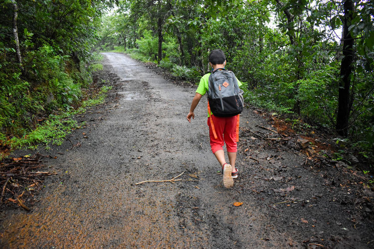 Rear view of boy running on road in forest